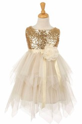 Tea-Length Sequined Split-Front Tulle&Sequins Flower Girl Dress