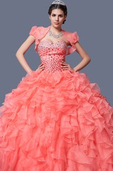 Sweetheart Organza Quincenera Gown With Ruffles and Beading