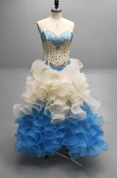 Sweetheart Ball Gown With Cascading Ruffles And A Matching Collar