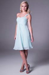 One-Shoulder Sleeveless Knee-Length Chiffon Bridesmaid Dress With Ruching And Zipper