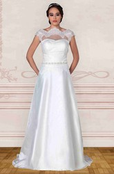 A-Line Bateau-Neck Cap-Sleeve Jeweled Tulle&Taffeta Wedding Dress With Lace And Illusion