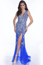 Trumpet V-Neck Tulle Sleeveless Sequined Gown With Side Slit And Keyhole Back