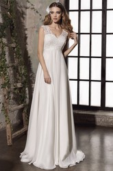 Sheath Empire Lace Appliqued Elegant Bridal Gown With Keyhole And Corset Back