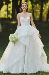 Lace Sweetheart Cascading Ruffles Sleeveless Open Back Bridal Ball Gown