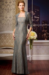 Strapless Lace Gown With 3-4 Sleeved Jacket Style