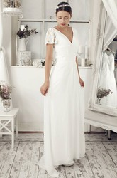 Sheath Maxi Poet Sleeve V-Neck Lace Chiffon Wedding Dress With Keyhole