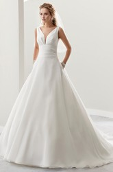 Deep-V Open-Back Satin Bridal Gown With Cap Sleeves And Wide Waistband