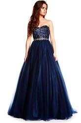 Sweetheart Floor-Length Beaded Tulle Prom Dress With Waist Jewellery And Lace Up
