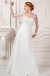 Sheath Square-Neck Floor-Length Long-Sleeve Lace Satin Wedding Dress With Bow