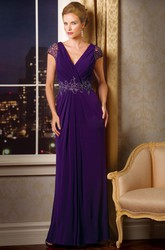 Cap-Sleeved V-Neck Mother Of The Bride Dress With V-Back And Crystals