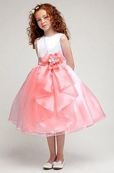 Tea-Length Bowed Split-Front Organza&Satin Flower Girl Dress