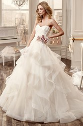 Sweetheart Wedding Dress with Cascading Ruffles and Side Floral Waist