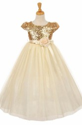 Short Floral Floral Empire Tulle&Sequins Flower Girl Dress With Sash