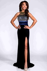 Crystal Detailed Bodice Jersey Prom Dress With Back Straps