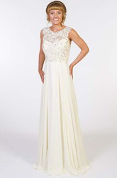 A-Line Sleeveless Appliqued Scoop Floor-Length Chiffon Prom Dress With Illusion Back And Beading