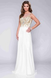 Chiffon Keyhole Back A-Line Prom Dress With Beaded Bodice