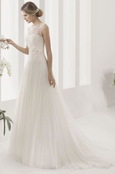 Scalloped Neck Tulle Ball Gown With Lace Bodice And Pleated Skirt