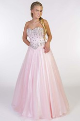 A-Line Beaded Sweetheart Long Sleeveless Tulle Prom Dress