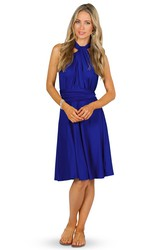 Knee-Length Sleeveless Halter Chiffon Convertible Bridesmaid Dress With Straps