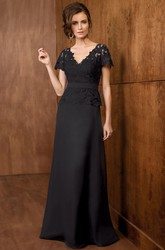 Short-Sleeved V-Neck A-Line Mother Of The Bride Dress With Peplum Style And Lace