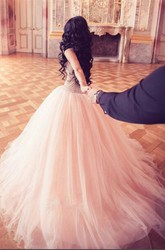 Stunning Crystal Princess Tulle Evening Dresses 2018 Floor Length Sweet 16 Quinceanera Dress