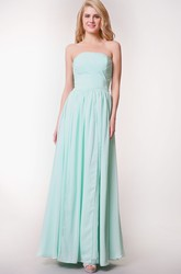 Convertible Sleeveless Pleated Long Chiffon Dress With Ruching