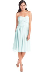 Tea-Length Sleeveless Criss-Cross Sweetheart Chiffon Muti-Color Convertible Bridesmaid Dress