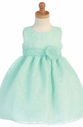 Tea-Length Floral Pleated Floral Flower Girl Dress With Ribbon