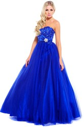 Ball Gown Beaded Sleeveless Sweetheart Tulle Prom Dress