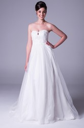 A-Line Strapless Appliqued Floor-Length Sleeveless Tulle&Satin Wedding Dress With Beading