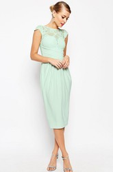 Tea-Length Sheath Lace Bateau Neck Cap Sleeve Chiffon Bridesmaid Dress