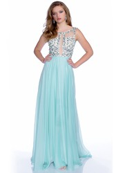 Deep V-Back Chiffon A-Line Sleeveless Prom Dress With Sequined Bodice