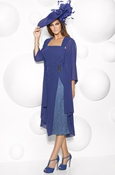 Tea-Length Lace Square Neck 3-4 Sleeve Chiffon Mother Of The Bride Dress With Cape