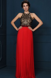 A-Line Beaded Sleeveless Floor-Length Scoop-Neck Jersey Evening Dress With Pleats