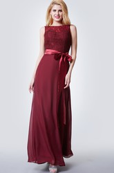 Sleeveless Illusion Bateau Neck Long Chiffon Dress With Lace Bodice