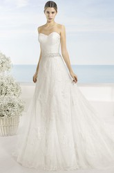 A-Line Sweetheart Long Appliqued Lace Wedding Dress With Criss Cross And Waist Jewellery