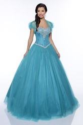 Ball Gown Floor-Length Cap Tulle Crystal Detailing Ruffles Lace-Up Corset Back Dress
