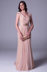 Sheath Maxi V-Neck Beaded Cap-Sleeve Tulle Prom Dress With Waist Jewellery