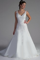 V Neck Lace Top A-Line Tulle Bridal Gown With V Back