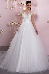 Ball Gown Cap Sleeve Appliqued Scoop Neck Tulle Wedding Dress