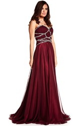 A-Line Sleeveless Sweetheart Floor-Length Beaded Chiffon Prom Dress With Straps And Pleats
