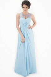 Scoop Long Ruched Chiffon Bridesmaid Dress With Illusion
