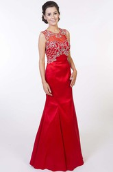 Trumpet Sleeveless Long Beaded Scoop Satin Prom Dress With Keyhole Back