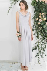Ankle-Length Cowl Neck Sleeveless Chiffon Bridesmaid Dress