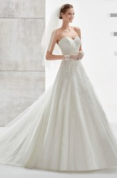 Sweetheart A-line Wedding Dress with Appliques and Illusive Panel