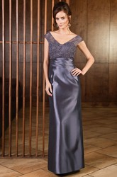 Cap-Sleeved V-Neck Long Sheath Mother Of The Bride Dress With Lace And Back Slit
