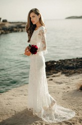 Ethereal Sheath Bat Sleeve Floor Length Bridal Gown with Sweep Train