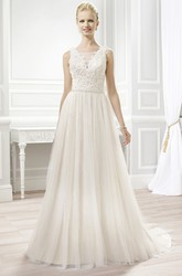A-Line Sleeveless Bateau Floor-Length Appliqued Lace&Tulle Wedding Dress With Pleats And Illusion Back