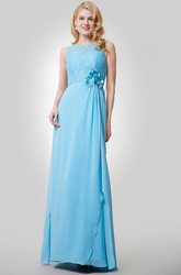 A-Line Chiffon Sleeveless Dress With Lace Bodice and Beaded Flowers