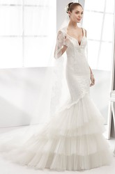 Deep-V Sheath Lace Gown With Tiers Tulle Train And Open Back